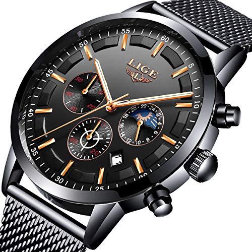 Mens Black Watch Fashion Casual Waterproof Luxury Brand LIGE Watch Stainless Steel Quartz Multi-Function Chronograph Watch Date Display Luminous Watch - Fashion Dress Sport Watch Mens