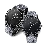 Menton Ezil Classic His and Hers Couples Matching Watch Leather Band Quartz Wrist Watches for Women and Men - Set of 2
