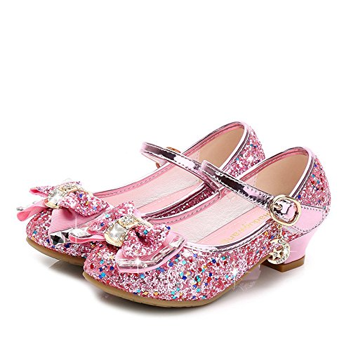 Rose town Girls Mary Jane Wedding Party Shoes Glitter Bridesmaids Low Heels Princess Dress Shoes(Pink26/9 M US Toddler) (Jane Shoes Sole Mary Pump)