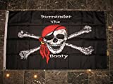 3×5 Jolly Roger Surrender The Booty Pirate Heavy Duty Solarmax Nylon 210D Doublesided Flag 3'x5′ Banner with clips