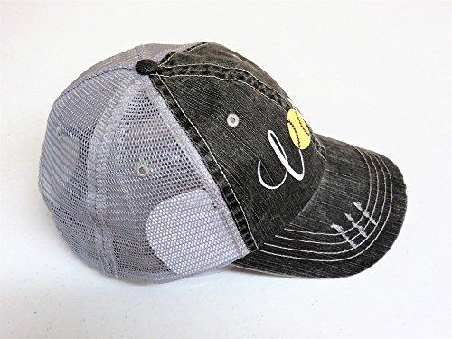 White/Yellow Glitter Softball Love Distressed Look Grey Trucker Cap Hat Sports by Spirit Caps (Image #1)