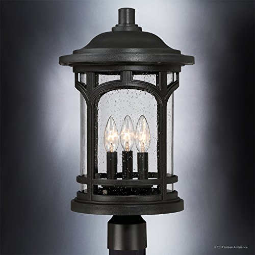 Luxury Rustic Outdoor Post Light, Medium Size: 19''H x 11''W, with Colonial Style Elements, Wrought Iron Design, High-End Black Silk Finish and Seeded Glass, UQL1106 by Urban Ambiance by Urban Ambiance (Image #2)