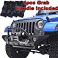 Restyling Factory 07-16 Jeep Wrangler JK Front Bumper with OE Fog Light Hole and Winch Mount Plate-Black Textured (Black)