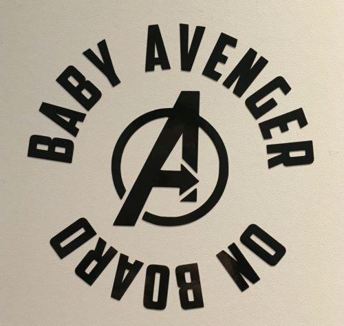 myrockshirt/® Aufkleber Baby Avenger on Board 17 cm Autoaufkleber Auto Sticker Lack Heckscheibe Baby Bord aus Hochleistungsfolie ohne Hintergrund Profi-Qualit/ät viele Farben zur Auswahl MADE IN GERMANY