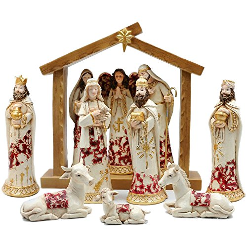 Comfy Hour Xmas Baby Jesus Holy Family with Angel Christmas Nativity Scene Figurine, Stable Set of 9 Pieces, Perfect for Christmas