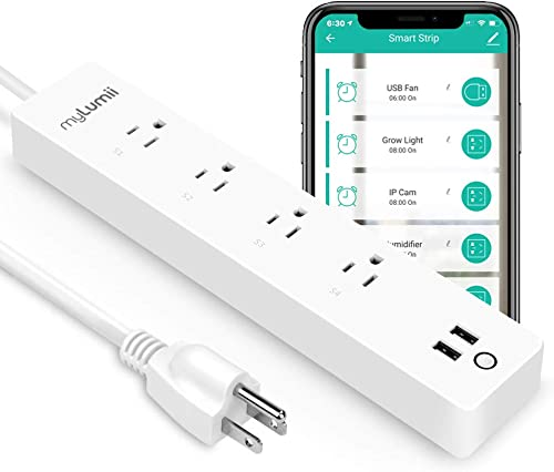 myLumii WiFi Smart Power Strip, 4 AC Plugs 2 UB Charging Ports, Special for Grow Tent use, Timing Schedule, 6ft Cord, No Hub Required