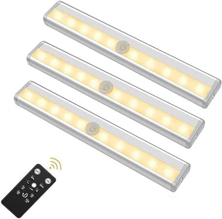 3 Pack Luz Armario 10 LED Sensor de Movimiento, Iluminación de Gabinete Barra de Luz Nocturna Pegar a Cualquier Lugar para Escaleras, Cocina Alacena funciona con Pilas, Control Remoto (Luz cálida): Amazon.es: