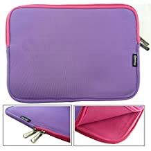 Emartbuy® Purple / Pink Water Resistant Neoprene Soft Zip Case Cover Sleeve With Pink Interior & Zip Suitable for Acer Aspire R3-131T-P1EF 11.6 Inch Notebook ( 11.6 - 12.5 Inch Tablet Chromebook Laptop )
