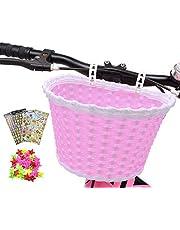 ANZOME Cesta de bicicleta para niña, manillar, cesta de bicicleta para niños con serpentinas para niños, juego de regalo para niños, color rojo rosa