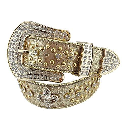 Belt Gold Buckle Bling (Western Crystals Fleur de Lis and Studs Rhinestone Belt in Gold Hardware Metallic Gold)