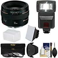 Canon EF 50mm f/1.4 USM Lens with 3 Filters + Hood + Flash & 2 Diffusers + Kit for EOS 6D, 70D, 5D Mark II III, Rebel T3, T3i, T4i, T5, T5i, SL1 DSLR Cameras Basic Intro Review Image
