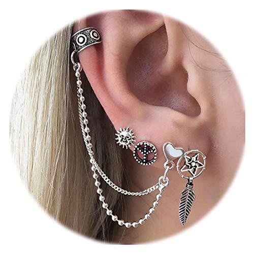 - Zealmer Ear Clip Set Vintage Silver Piercing Non Piercing Ear Cuff Earring Set Sun Tree Leaf Love Heart