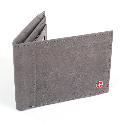 Mens Slim Wallet Thin Bifold, Billfold Front Pocket Wallet ID Window & Card Case Includes Outside Card Slot for Quick Access