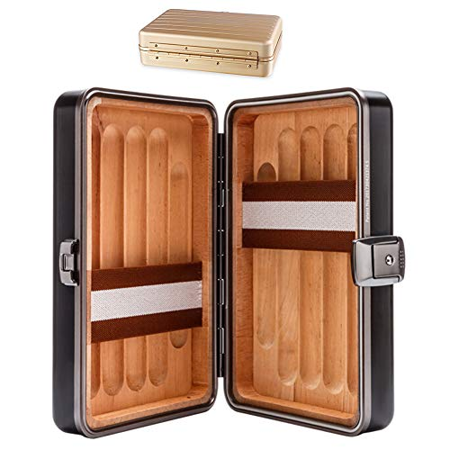 $233.55 cuban crafters humidor KELUNIS Cigar Humidor, Can Hold 10 Cigars, Aluminum-Magnesium Alloy Case/Cedar Wood, Lock,Black 2019