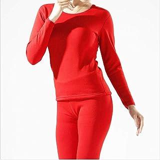 HNRYUDCF New Thermal Underwear Mens Long Autunno Inverno Shirt + Pants 2 Pezzi Set Warm Thick Plus Size M-XXXL Red Women, L
