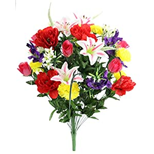 Admired By Nature ABN1B001-SPRING 40 Stems Artificial Full Blooming Lily, Rose Bud, Carnation and Mum with Greenery Mixed Flower Bush, Spring 57