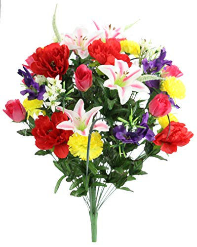 Admired By Nature ABN1B001-SPRING 40 Stems Artificial Full Blooming Lily, Rose Bud, Carnation and Mum with Greenery Mixed Flower Bush, Spring ()
