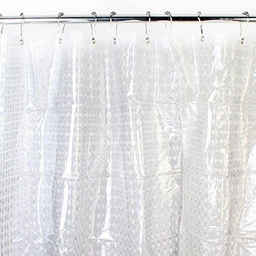Rj Mildew Resistant Anti-Bacterial Fabric 72X72 Square Clear Shower Liner, Waterproof Antibacterial - Non Toxic -Odorless -Rust Proof Grommets
