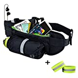 GRULLIN Outdoor Sports Hydration Fanny Pack,Running Belt Black Waist Bag,Slim Fit Workout & Travel Daypack with Reflective Zipper Pouch & Reflective Bands