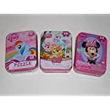 My Little Pony, Palace Pets, & Minnie Mouse Bowtiique 50 Piece Puzzles in Tins - Bundle of Three