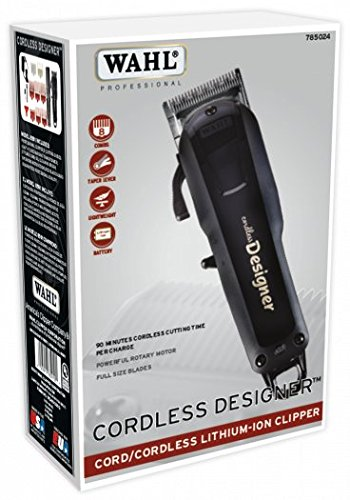 Wahl-Professional-Cordless-Designer-Clipper-8591–90-Minute-Run-Time–Accessories-Included