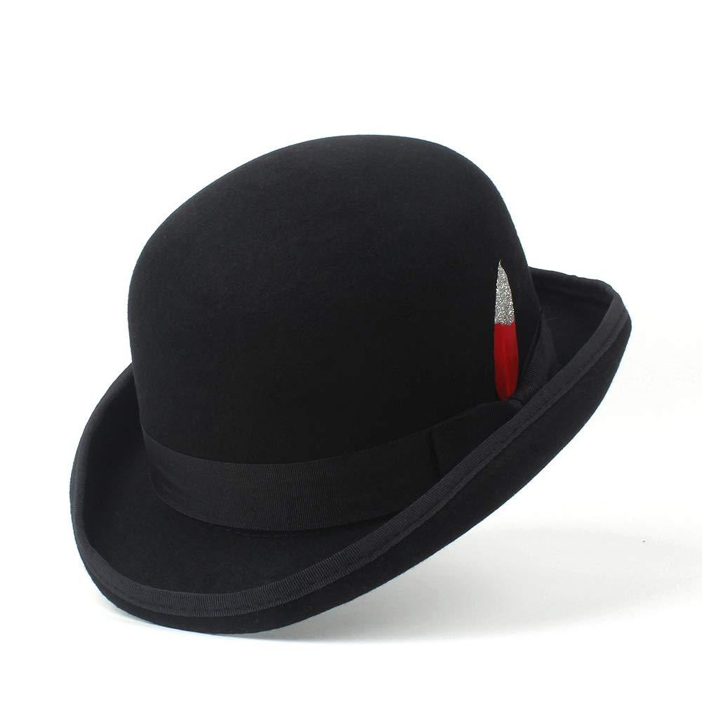 Black YhuisenHat, Men Women Pure Wool Fedora Hat Black Grey Floppy Brim Woolen Felt Bowler Hat Casual Dome Winter Derby Hat Caps