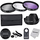 Neewer®-Filtro 52 mm per lenti con Kit accessori e ML-L3 per telecomando Wireless IR NIKON D7100/D7000/D5200/D5100/D5000 D3000, D3300, D3200 e D90 D80 DSLR, Kit con anti-Kit di filtri (UV, CPL, FLD), custodia per il trasporto-Paraluce a fiore centrale con cappuccio Keeper Leash panno di pulizia in microfibra, ML-L3-Telecomando Wireless IR