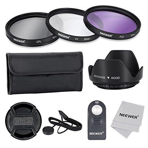 Neewer® 52MM profesional lente filtro accesorio Kit y ML-L3 IR inalá mbrico teledirigido remoto control para NIKON D7100 D7000 D5200 D5100 D5000 D3300 D3200 D3100 D3000 D90 D80 DSLR cá maras - incluye Kit de filtro (UV, CPL, FLD) + filtro