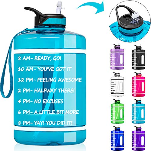 🥇 1 Gallon Water Bottle with Time Marker & Straw – 128 oz BPA Free Reusable Large Motivational Fitness Sports Water Bottle Leakproof Big Plastic Gym Water Jug for Biking