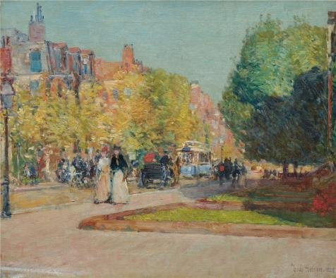 'Childe Hassam,Marlborough Street,Boston,1889' Oil Painting, 18x22 Inch / 46x55 Cm ,printed On High Quality Polyster Canvas ,this High Definition Art Decorative Prints On Canvas Is Perfectly Suitalbe For Game Room Gallery Art And Home Gallery Art And Gifts