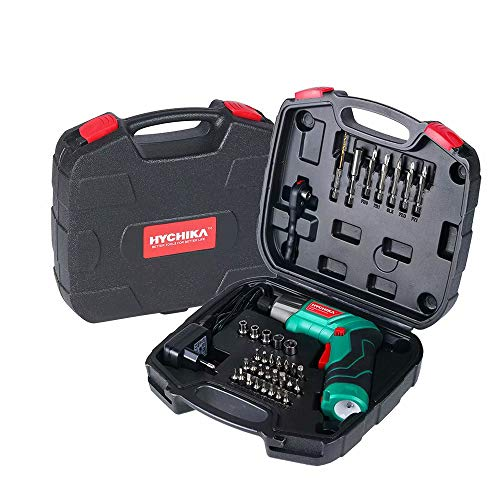 Electric Screwdriver, 6N·m Max Torque HYCHIKA Cordless Screwdriver 2000mAh 3.6V with 36 Accessories, LED Light and Rear Flashlight, Ratchet Wrench, Charging Adapter with USB Cable and Storage Box