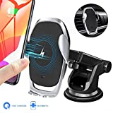 Moskee Wireless Car Charger Mount,Automatic Clamping,Qi 10W 7.5W Fast Charging,Air Vent Phone Holder Compatible with iPhone 11 11 Pro Max Xs MAX XS XR X, Miyababy Samsung Galaxy (Black)