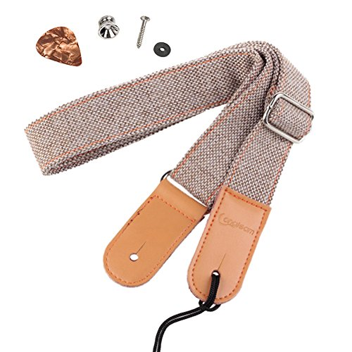 HOT SEAL Linen Style Adjustable Genuine Uke Leather Metal Hook Ukulele Strap Strong Back Straps (Linen Light Brown)