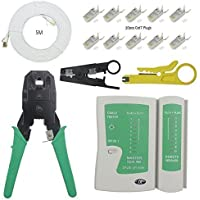 Enterest Ethernet Network Tester kit includs 3-in-1 Modular Crimper,Cable Tester,Cutter,5M Cat7 Network Cable,With 10Pcs CAT7 Modular Plugs by Enterest