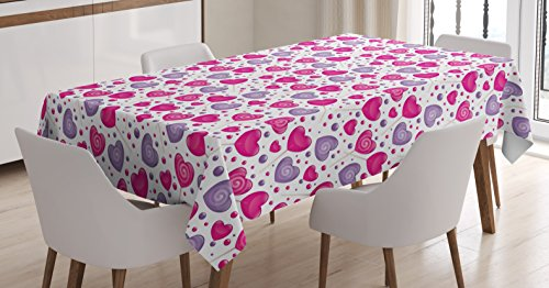 Ambesonne Valentine Tablecloth, Heart Shaped Lollipops Candies with Spirals Cute Romantic Love Theme Pattern, Dining Room Kitchen Rectangular Table Cover, 60W X 84L inches, Hot Pink Purple