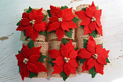 - Poinsettia Christmas Flower Felt Ribbon Napkin Holders, Set of 6