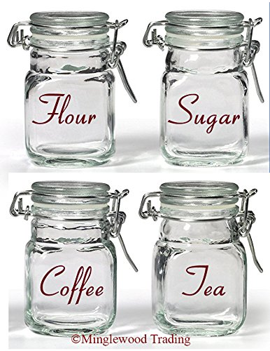 Bag Bean Burgundy Vinyl - Set of 4 Canister Labels - V3 - Vinyl Decal Stickers Kitchen Flour Sugar Tea Coffee - 20 Color Options - Burgundy