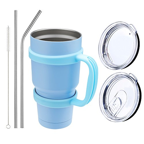 Comfy Mee Double wall Vacuum Insulated Stainless Steel Sky Blue Tumbler with Sky Blue Handle 30oz Combo: 1 Mug - 1 Regular Lid - 1 Spill & Splash Resistant Lid - 1 Handle-2 Straws - 1 Cleaner brush