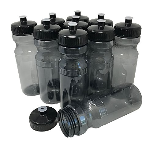 CSBD Blank 24 oz Sports and Fitness Water Bottle, BPA Free, PET Plastic, Bulk, 10 Pack (Smoke, 24 Ounces)