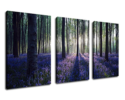 Canvas Prints Lavender in Forest Sunshine Scenery Painting Canvas Wall Art Nature Picture 30