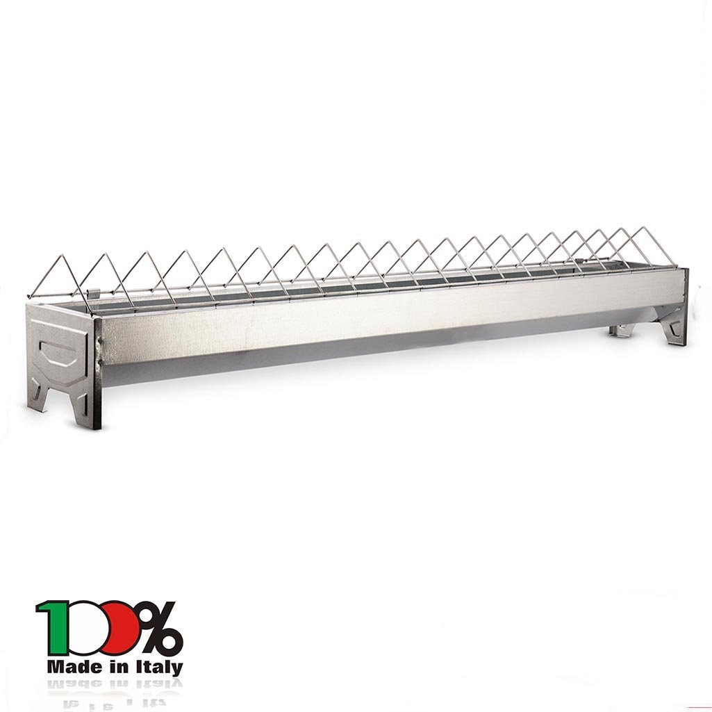 CHICKENS FEEDER TROUGH FEEDING BARRED 50 CM METAL POULTRY CHICKEN MADE IN ITALY Mistermoby