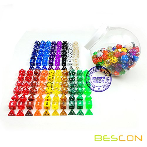 Bescon Assorted Colored RPG Dice Pack of 126 Polyhedral Dice 18 Complete Sets of 7 Dice 18 Clear Dice Jar Included ()