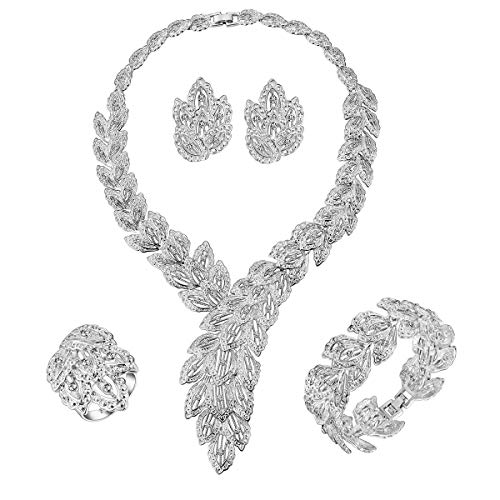 MOOCHI 18K Platinum Plated Scarf-Shaped Crystal Chain Necklace Ring Jewelry Set ... ()