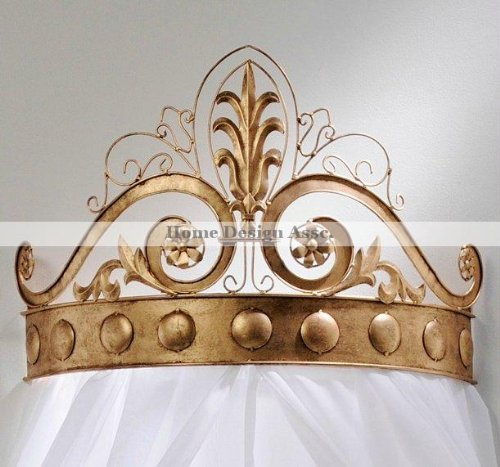 (Ornate Gold Scrollwork BED CROWN Tester Wrought Iron Cast Baroque)