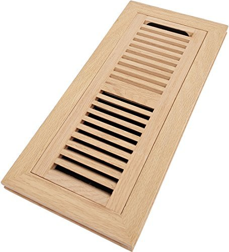 Homewell Red Oak Wood Floor Register, Flush Mount Vent with Damper, 4x12 Inch, Unfinished ()