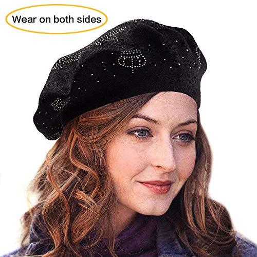 LADYBRO Sequin Beret Black Beret Women Wool Berets for Women Slouchy Beret Knit Hats (Black-Top Rhinestones)