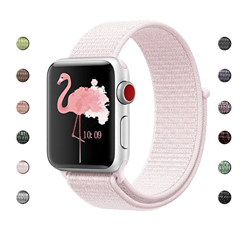 - Lozer for Apple Watch Band Sport Loop 38MM, Adjustable Closure Wrist Strap Lightweight Breathable Nylon Replacement Band for Apple Watch Series 3/2/1, Sport, Edition,Nike+ Hermes (Pearl Pink)