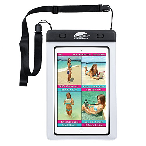 "#1 Waterproof iPad Case For iPad mini. Kindle, Camera and Other Dry Valuables. 5.75"" x 8.2"". For up to 9"" Screen. Pouch. Tested to 20m. Easy to Use. 2 Tablet and phone sizes available."