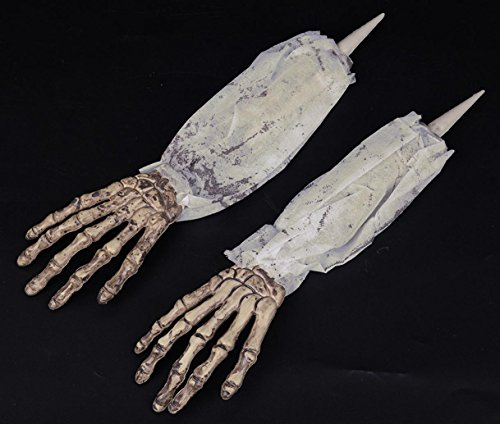 Skeleton Skull Arm Yard Stake Hand Stakes Halloween Lawn Decoration White with (Skull Lawn Stakes)