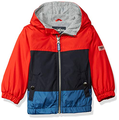 Osh Kosh Baby Boys Jersey-Lined Lightweight Jacket, red/Navy/Barbados Blue, 18M
